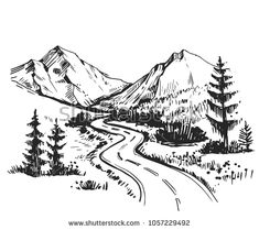 Sketch Landscape Road Mountains Hand Drawn Stock Vector (Royalty Free) 1057229492 - Gunther R Aus L - Re-Wilding Landscape Sketch, Landscape Tattoo, Landscape Drawings, Landscape Pictures, Fantasy Landscape, Mountain Sketch, Mountain Drawing, Art Drawings Sketches, Doodle Drawings