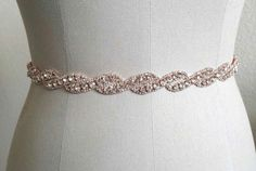 Skinny Rose Gold Bridal Belt Crystal Bridal Sash by BingCheri