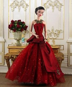 red gown on barbie!