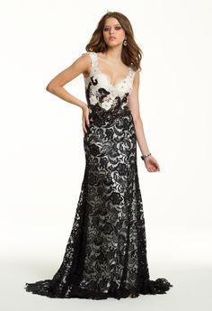 Long Lace Dress with Deep V Neck from Camille La Vie and Group USA Lace  Evening bc42448c70a9