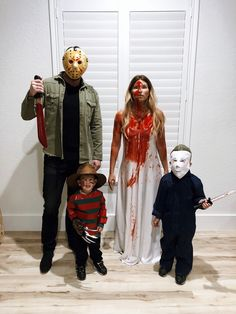DIY Halloween family costume ideas - Jason Voorhees, Carrie, Freddy Krueger, Michael Myers