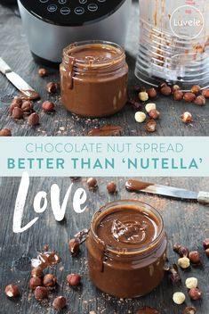 Healthy Nutella – the ultimate chocolate nut spread - This healthy homemade Nutella is the ultimate chocolate nut spread and only takes 3 minutes to blen - Nutella Spread, Chocolate Spread, Homemade Nutella Recipes, Healthy Nutella Recipes, Nutella Cake, Healthy Dips, Healthy Smoothies, Smoothie Recipes, Cake Recipes