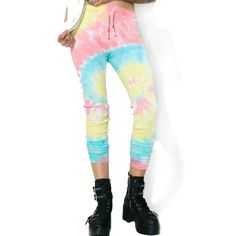 Current Mood Acid Crush Tie Dye Pants (€32) ❤ liked on Polyvore featuring pants, draw string pants, white pants, white drawstring pants, white high waisted pants and thermal pants