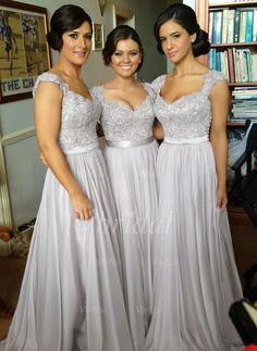 Bridesmaid Dresses - $166.85 - A-Line/Princess Sweetheart Floor-Length Satin Chiffon Bridesmaid Dress With Ruffle Beading Appliques Lace…