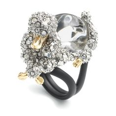 Alexis Bittar Jelly Belly Poodle Cocktail Ring in Black (CLEAR)