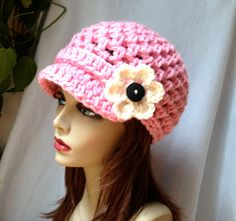 Crochet Womens Hat, Newsboy, PINK, Very Soft Chunky, Flower, Warm. Teens, Winter, Ski Hat, Birthday Gifts, Gifts for Her, JE475NF2 via Etsy