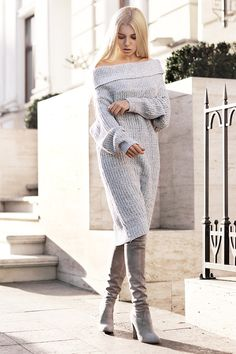 Cozy sweater dress (by Kristina Dolinskaya) Mode Outfits, Fashion Outfits, Fashion Trends, Fashion Bloggers, Dress Fashion, Fashion Ideas, Casual Winter Outfits, Fall Outfits, Grey Knit Dress