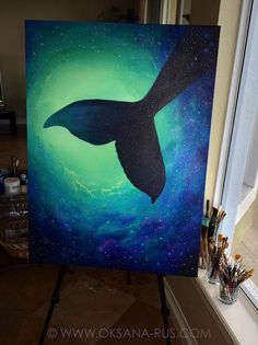 Star Whale • 30x40 inch • Painting, Study, #Acrylic, #MixedMedia, #Blue, #Water #droplet, #Bubbles, #Moonlight, #Reflection, #Sparkle, #Night, #Wave, #Surf, #Ocean, #Sea, #Beach, #Heaven, #Island, #Hawaii, #Tahiti, #Luxury, #Exotic, #Sensual, #Divine, #Holy, #Heavenly, #Delightful, #Healing, #Spiritual, #Luxury, #OksanaRus, #OksanaArt, #Art, #Artist, #Spiritual, #Spirit, #Song, #Magic, #Painting, #Canvas, #Art, #fineart, #homdecor, #Whale, #Glitter