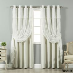 Shop for Aurora Home Tulle Sheer with Attached Valance and Solid Blackout 4 piece Curtain Panel Set. Get free delivery On EVERYTHING* Overstock - Your Online Home Decor Outlet Store! Get in rewards with Club O! Drop Cloth Curtains, Boho Curtains, Floral Curtains, Roman Curtains, Grommet Curtains, Hanging Curtains, Panel Curtains, Valance, Curtains 2018