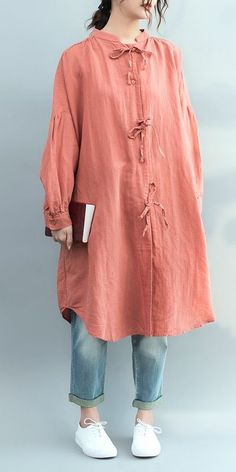 Casual Pink Cotton Linen Loose Shirt For Women S4021