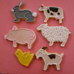 Assorted Farm Animal Cookies! Great for baby showers and birthdays!