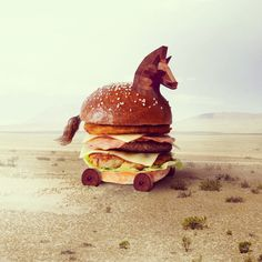 Cheval de Troie Burger. Fat and Furious Burger : De l'Art sous forme de Burger.