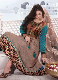 Light Green Salwar Kameez in Chiffon And Net