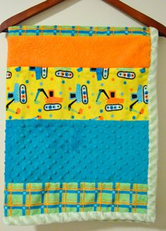 Double Minky Construction Theme Blanket Stroller or by SewGreatful