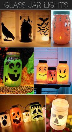 Glass jar lights, love the pumpkins for the porch!