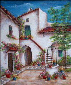 El pozo en Granada. Una original pintura de acrílico sobre