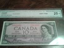 """Coins/Currency 1954 $10 Canada """"Devils Hairdo"""" CGA Authenticated"""""""