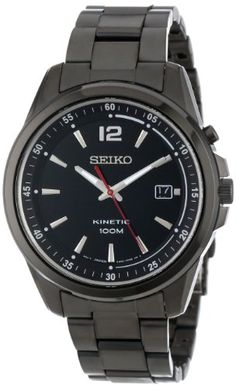 """2. Seiko Men's SKA605 KINETIC """"Amazon Exclusive"""" Black Ion-Plated Stainless Steel Watch"""