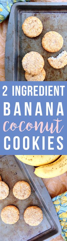 These easy 2 Ingredient Banana Coconut Cookies are simple and delicious, chewy with a hint of sweetness. Click to read the recipe or pin to save for later! | GrokGrub.com #glutenfree #healthy #paleo #vegan