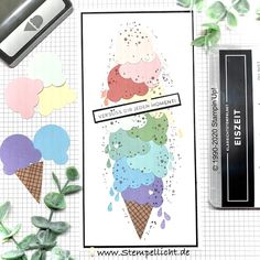 Stempellicht: Eiszeit Card Making Inspiration, Stampin Up Cards, Birthday Cards, Ice Cream, Cool Stuff, How To Make, Stamping, Card Ideas, Tags