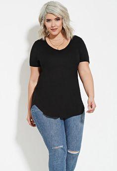 Camiseta Cuello-V - Tallas Grandes | Forever 21 Plus - 2000150350
