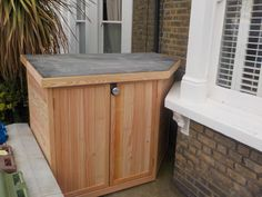 Secure bike shed for front bay window. Metal Furniture, Furniture Plans, Garden Furniture, Cool Furniture, Furniture Design, Urban Furniture, Furniture Stores, Bike Storage Front Garden, Bicycle Storage