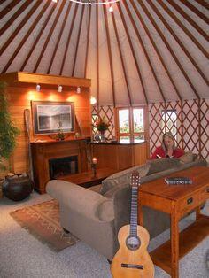 Yurt - very homey. Yurt Living, Tiny House Living, Yurt Interior, Interior Design, What Is A Yurt, Yurt Home, Silo House, Earthy Home Decor, Luxury Swimming Pools