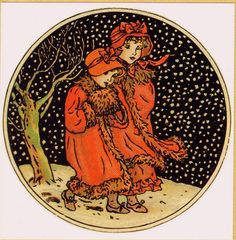 "A vintage Green Tiger Press Notecard (greeting card, blank inside) entitled ""December"" by Kate Greenaway. This illustration was part of the celebrated 1890 Almanac by Kate Greenaway.  Two girls clad in warm winter garb, including bonnets and a muff, make their way through the snowy landscape."