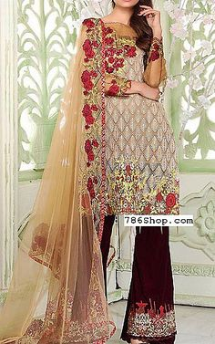 Beige/Magenta Cotton Organza Suit | Buy Sifona Pakistani Dresses and Clothing online in USA, UK