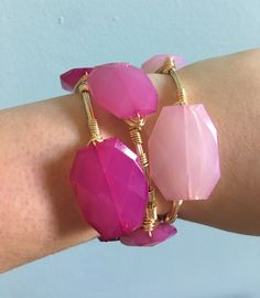 Ombre Pink Bangle Stack - Wire Wrapped Bracelet - Geo Beads - Orchid Pink, Hot Pink, Pastel Pink - Bourbon and Boweties Inspired by…