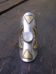 Moonstone Shield Ring in Sterling Silver and Brass by StarNative, $125.00