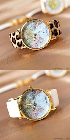Cheap Retro World Map Leopard Brown Watch For Big Sale!Retro World Map Leopard Brown Watch is cheap but fashion and useful. Simple Watches, Cute Watches, Retro Watches, Cheap Watches, Vintage Watches, Women's Watches, Ladies Watches, Latest Women Watches, Accessories