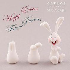 fondant cakeart bunny More - pascuas ideas Fondant Toppers, Fondant Cakes, Cupcake Toppers, Fondant Rabbit, Rabbit Cake, Cake Topper Tutorial, Fondant Tutorial, Fondant Figures, Fondant Animals