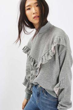 Metallic Ruffle Sweatshirt