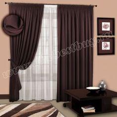 Готовые шторы для гостиной и спальни: Искра (арт. 1107)  - 500х270, (200х270)х2 см. - венге (Блэк-аут) - НОВИНКА 2015 года