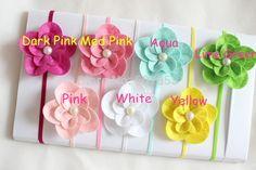 78.00$  Watch here - http://aliabo.shopchina.info/go.php?t=32686527624 - Felt flower headband ,pearl Flower on Skinny Elastic Headband Fit Newborn - Adults 120pcs  #aliexpresschina