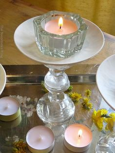 lighting the tealight, Repurposed Cordial Glasses and Saucers for a Spring Craft Pedestal, theboondocksblog.com