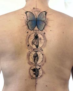 Spine tattoos can add beauty and sexiness to an individual and there are a ton of inspiring designs to consider before you let fear get the best of you Spine Tattoos, Dope Tattoos, Body Art Tattoos, Sleeve Tattoos, Tatoos, Metamorphosis Tattoo, Caterpillar Tattoo, Single Needle Tattoo, Chenille
