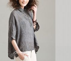 women's Loose fitting flax Simple round collar linen by Concertino, $49.00