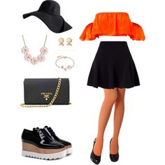 A fashion look from March 2017 featuring orange top, petite skirts and opaque pantyhose. Browse and shop related looks.