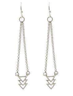 Silver Triple Arrowhead Drop Earrings from Helen's Jewels
