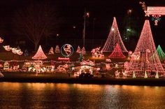 More than 2 million lights decorate the shore of Lake Marble Falls in Texas for the Walkway of Lights during the holiday season.