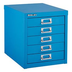 "11"" x 15"" x 13"" 100$ at the Container Store with many color options. Metal construction so should be really durable with eary sliding drawers. Cerulean Blue Bisley® 5-Drawer Cabinet"