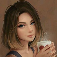 Brown Hair Girl Drawing, Girl With Brown Hair, Girl Short Hair, Beautiful Girl Drawing, Cute Girl Drawing, Cartoon Girl Drawing, Cartoon Girl Images, Cute Cartoon Girl, Cartoon Art Styles