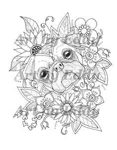 Art of Pug Single Coloring Page - Sunflower Pug