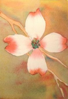 Watercolor dogwood flower by Gayle Dowell