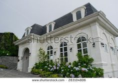 Partial view of the Resort with castles on fogs. - stock photo