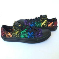 Gay Pride Paint Splatter Custom Converse Shoes