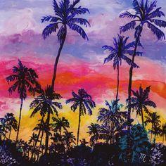 Kauai Tropical Coconut Trees - Reverse Acrylic Paintings - Kauai Hawaii Hawaiian Original Art - Sunset Palm Trees Art - Tropical Sunrise Art by kauaiartist on Etsy https://www.etsy.com/listing/245092852/kauai-tropical-coconut-trees-reverse