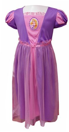 Disney Tangled Rapunzel's Lovely Gown Toddler Nightgown If your little princess likes to dress like Rapunzel, she will love this nightgown! These flame resistant night gowns for toddler girlsare designed to look like Rapunzel's gown, from the puffy striped sleeves to the ruffle details. This pretty lilac and pink gown has a sparkly sheer overlay and an embroidered cameo of Rapunzel. 100% polyester, machine wash gentle cycle. Sweet dreams, little one!